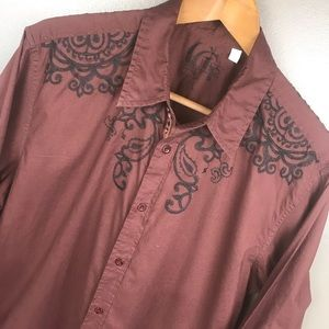 GUESS Embroidered Men's Large Dress Shirt Large